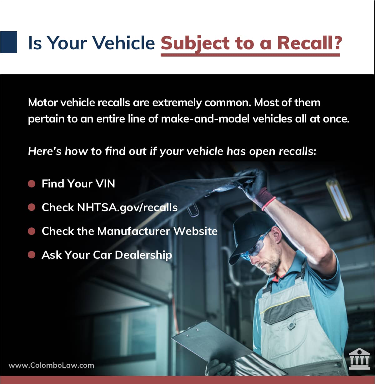 Is Your Vehicle Subject to a Recall? | Colombo Law